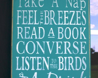 PORCH RULES - Wooden sign - Large - 12 x 24 - hand painted - turquoise - Family Rules - subway art - typography - rustic - aqua - teal