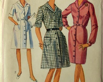 Uncut 1960s Simplicity Vintage Sewing Pattern 6584, Size 18; Misses' and Women's One Piece Dress with 2 Skirts