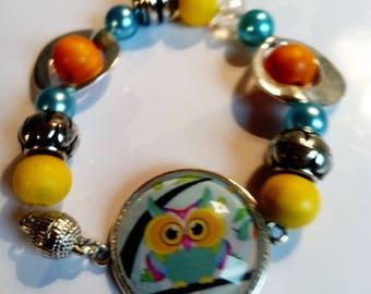Vintage OWL blue yellow orange ethnic original cabochon bracelet