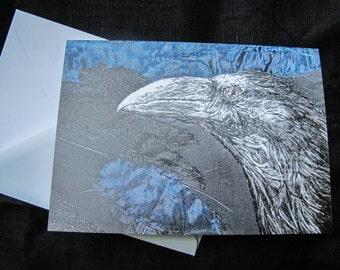 Crow design art blank greeting card