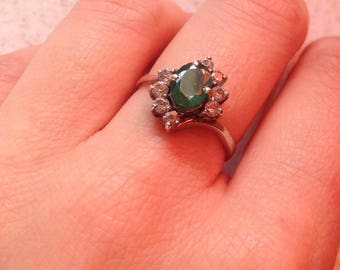 Real Emerald vintage silver ring with cubic zirconia