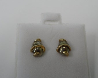 Vintage Sterling Silver Barrel Post Earrings Stud Earrings Jewelry