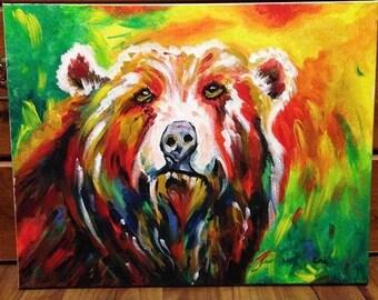 Acrylic Painting of Bear on Canvas