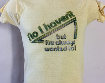 Vtg 1979 Novelty Iron-On T-Shirt Yellow XS 70s Thin Soft Funny