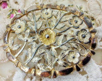 Vintage Brooch, Sterling Silver, Floral, Pin, Gold Plated, Jewellery