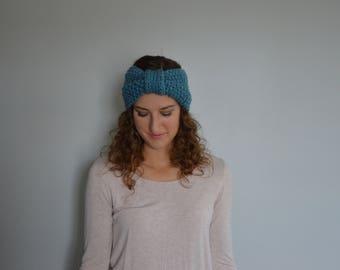 Knit Knot Head Band Warmer - Blue