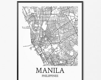 Manila Map Art Print, Manila Poster Map of Manila Decor, Manila Map Art, Manila Gift, Manila Philippines Art Poster