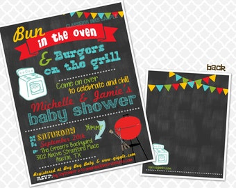 Bun in the Oven Burgers on the Grill Baby Sprinkle Baby Shower Invite