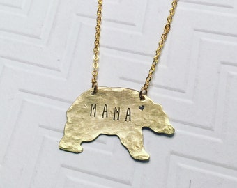 Mama Bear Necklace - Gift For Mom - Gift For Her - Hand Stamped Necklace - Personalized Necklace - Brass Gold Bear - Heart