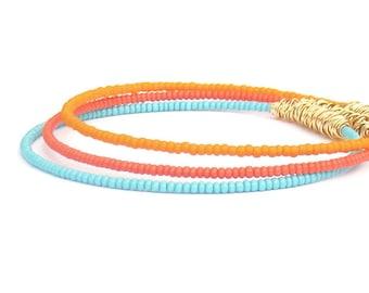 Beaded Bracelet Stack // Set of 3 Bangle Bracelets // Eco-Friendly Jewelry // Coral, Blue & Gold Bracelets // Recycled Jewelry / Summer Gift