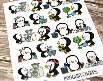 Penguin Stickers - Penguin Planner Stickers - Character Stickers - Chore stickers - Laundry Penquin - Gardening Penquin - Trash Penquin