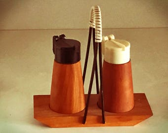Vintage teak wood Cruet salt and pepper shakers with carriers from the 1950s