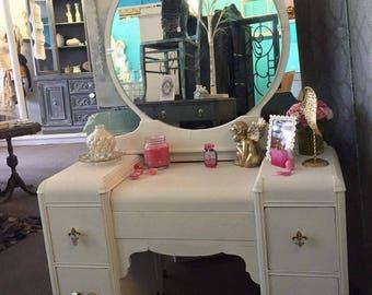 Antique Shabby Chic 1940s White Vanity Desk w Mirror, Gold, Victorian, Vintage, Dressing Table, Feminine, French, Fleur de Lis, Waterfall