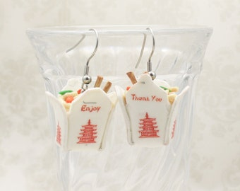 Chinese Take Out Earrings - Lo Mein or White Rice