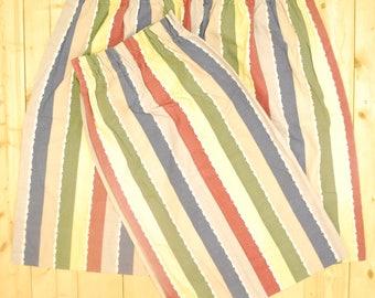 Vintage 1940's/50's 2 Piece Barkcloth Curtain Fabric / Striped Print / Retro Collectable Rare
