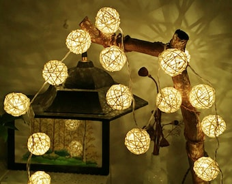 10 LED Rattan Ball String Lights Battery Operated Fairy String Lights, Centerpieces, Party Lights, Weddings, Room decor, Warm White