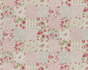 Durham by Lecien 2017  Squares of floral Print in pinks 31467-20 Cotton Linen