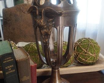 Vintage, Decorative Bronze Ram Handled Footed Open Vase