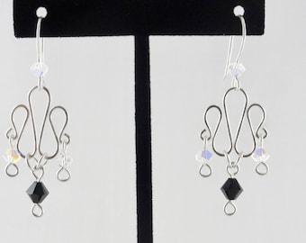 Ribbon Swirl Silver Earrings - Sterling Silver Earrings, Chandelier Earrings, Swarovski Earrings, Lightweight Earrings, Elegant Earrings