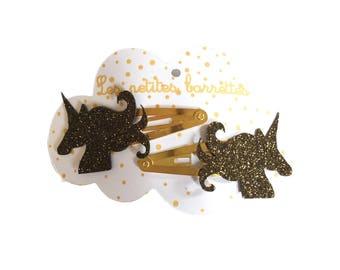 Black glitter unicorns pins