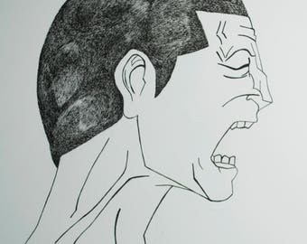 Echoes of Anxiety-Micron Pen Drawing-Original