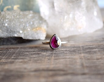 Rose Cut Garnet Ring, Natural Stone, January Birthstone Ring, Choose Your Stone, Mothers Day Gift, Silver Garnet Ring, Unique Garnet
