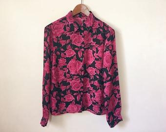 Vintage rose floral black and pink sheer blouse