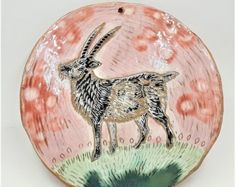Spring time goat plaque - goat wall art