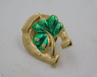 Vintage Four Leaf Clover and  Horseshoe Gold Tone Good Luck  Pin dr59