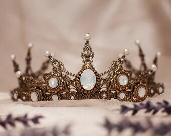 Medieval Bridal Tiara, Renaissance Tiara, Medieval Wedding, Ren Faire, Gold Bridal Headpiece, Crown, Handfasting, Silver, Garb, Avalon Tiara