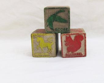 Vintage Toy Blocks - Wooden Blocks - Picture Blocks