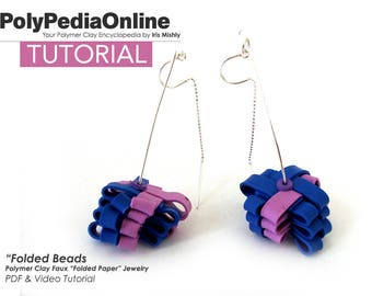 Polymer Clay Tutorial, Polymer Clay Jewelry, Origami Jewelry, Origami Earrings, Necklace Pattern, Bracelet Tutorial, Video Tutorial, Fimo