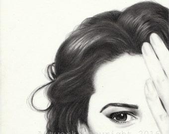 Art Print signed, portrait of Monica Bellucci, graphite drawing