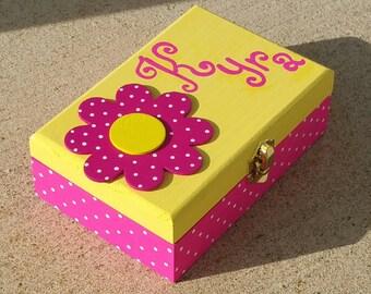 Personalized Child's Jewelry Box Flower Wood Box Girls Hot  Pink Nursery Decor