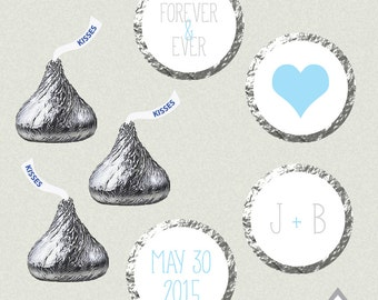 Hershey Kiss Labels, Wedding Kisses, Printable Hershey Kiss stickers, Wedding Kiss Favors, Blue and White Wedding, printable kiss labels
