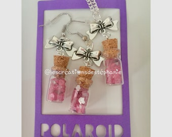 Adornment necklace and earrings vials Crystal roses and bows