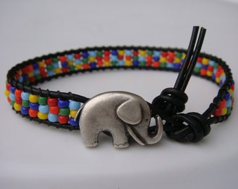 Rainbow Beaded Leather Bracelet with Elephant Button READY TO SHIP