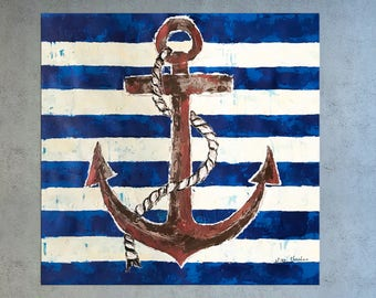 Nautical Painting, Anchor Painting, Seascape art, Palette Knife art, Coastal decor, Tropical decor, Sailing art, Anchor, Painting on canvas