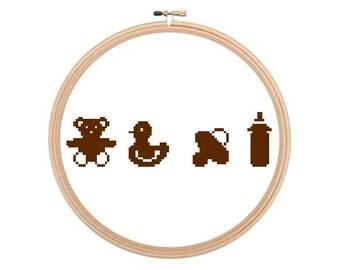 Baby Things - Cross stitch pattern PDF, Baby Cross Stitch, Kids Cross Stitch, Nursery Art, Baby Room Decor
