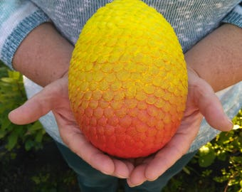 Large Dragon Egg  15cm x 10cm //  sunset fiery dragon // metal scales hand painted // one of a  kind // fantasy gift