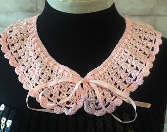 Vintage Style Crocheted Lace Collar in pink Sale
