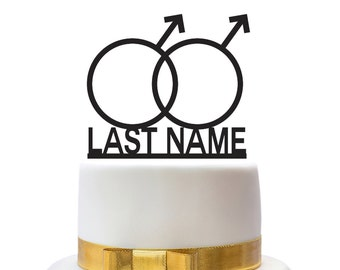 Custom wedding cake toppers with male symbols and name, for a gay wedding couple, other colors also possible, custom made
