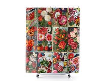 Floral Shower Curtain, Flower Bathroom, Flower Seed Gifts, Flower Nursery Decor, Flower Decor, Gardener Gifts, Floral Bathroom, Botanical