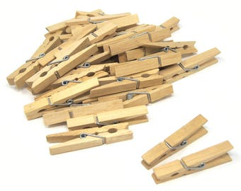 Decorative Natural Wooden Clothespin, 3-Inch, 36-Piece