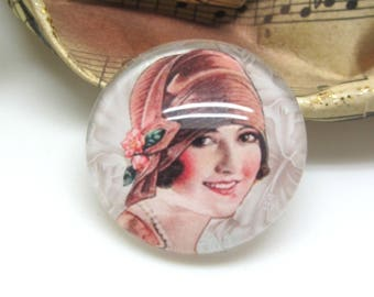 2 cabochons 14 mm glass face Retro Vintage pink chocolate woman - 14 mm