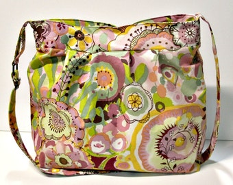Extra Large Muted Blooms Pleated Diaper Bag, Extra Large Bag, Cloth Diaper Bag, Extra Large Handbag, Floral Purse, Floral Cloth Diaper Bag