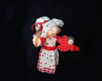 Vintage Mrs. Santa Miniature Doll Ornament Spun Cotton Sewing Christmas Decoration Dollhouse Diorama Gingham Calico 1970s Holiday Decor