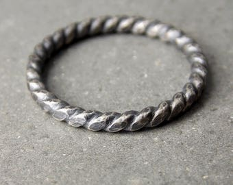 Meduim Twist Ring, Oxidized Satin Finish, Sterling Silver Stacking Ring - Made to Order