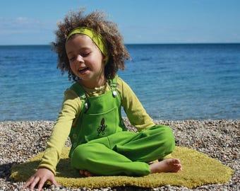 Lime Denim Kids Dungarees - Squid Design