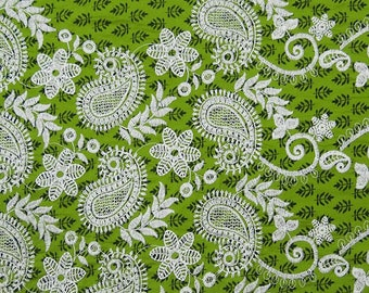 """Olive Green Fabric, Paisley Embroidery, Designer Fabric, Craft Fabric, Home Decor, 40"""" Inch Cotton Fabric By The Yard ZBC7711A"""